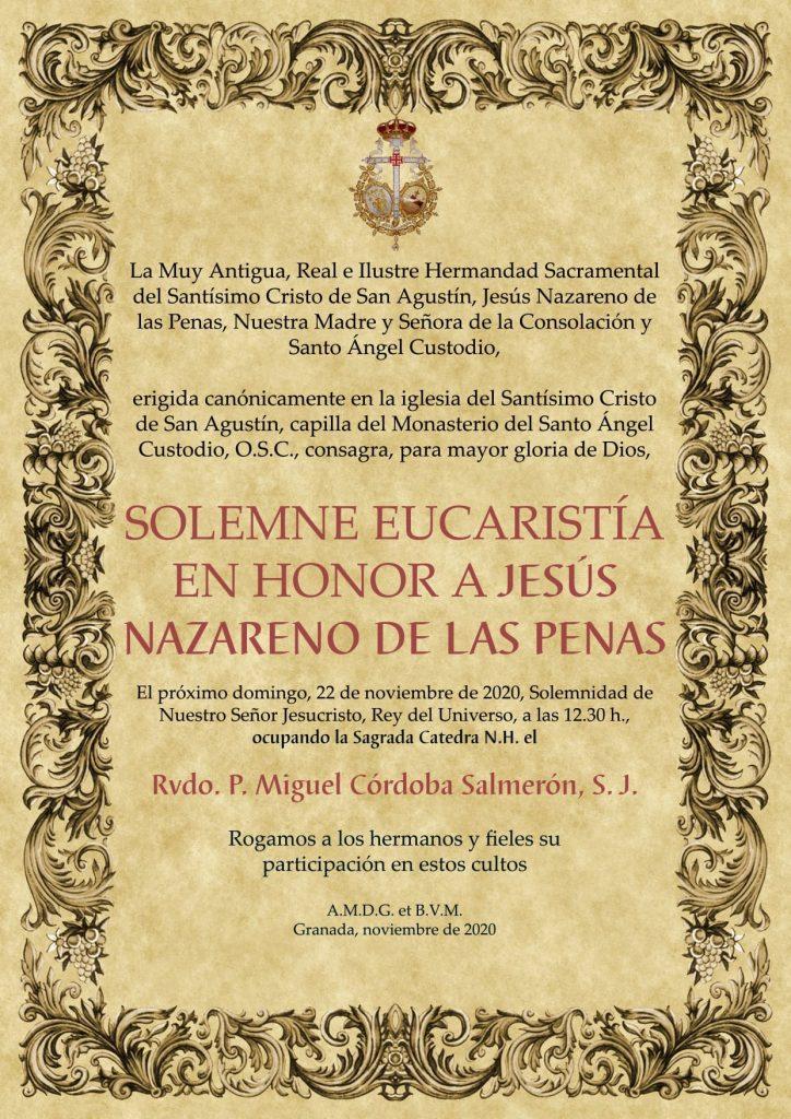 Convocatoria Eucaristía Nazareno de las Penas, Granada