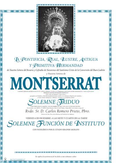 Solemne Triduo en honor a Nuestra Señora de Montserrat 1